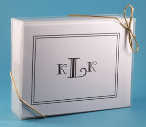 Personalized note cards in a clear gift box