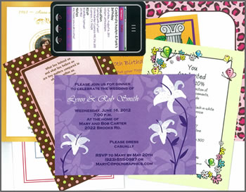 samples of invitations from Poly Graphics