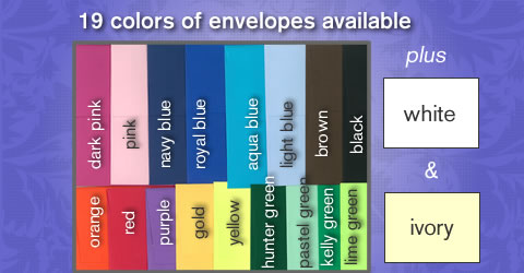 19 different colors of envelopes available at Poly Graphics
