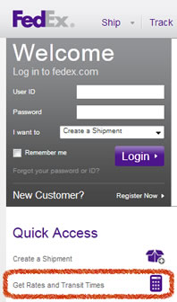 Get rate and delivery time for FedEx packages
