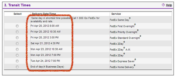 Example of a FedEx delivery date and time estimate