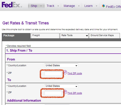 Federal Express FedEx enter sip codes to get rates and delivery times