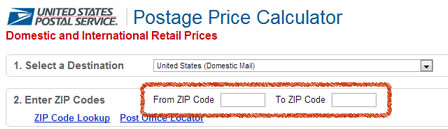 Enter zip codes on the USPS postage calculator