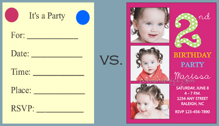 the difference between fill in the blank and personalized invitations